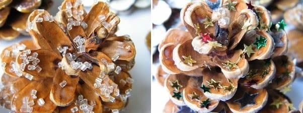 pine cones decorated