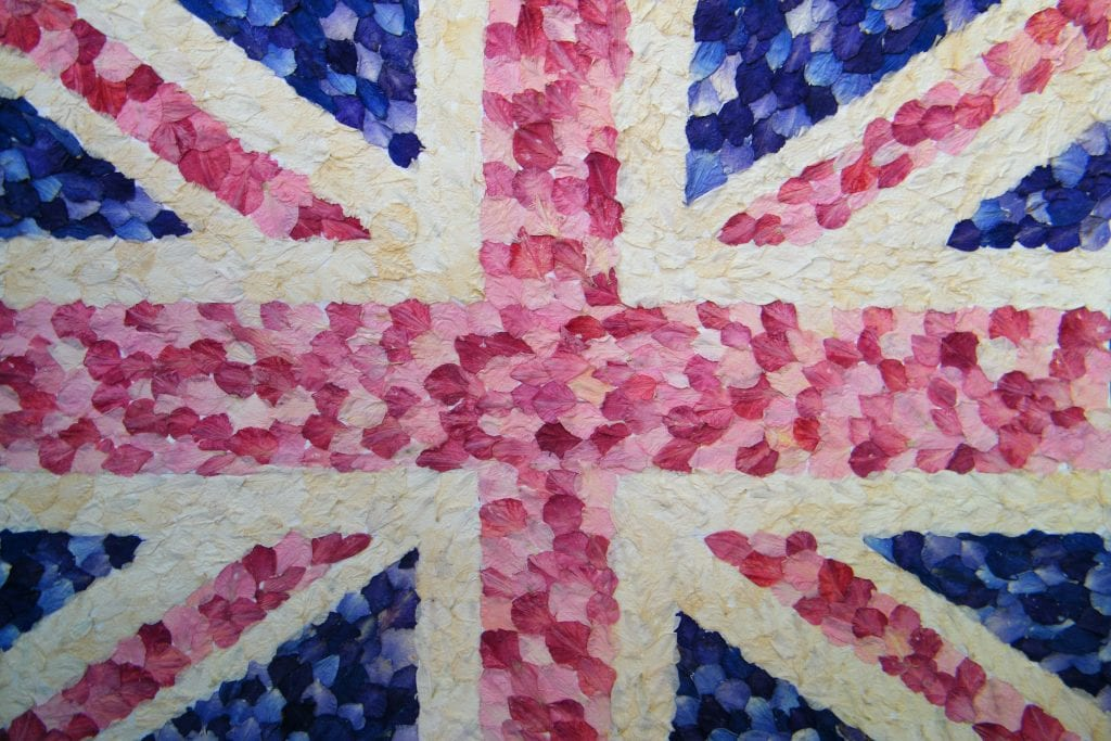 union jack delphinium petals wedding confetti