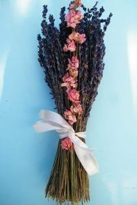 dried flower bouquet lavender delphinium