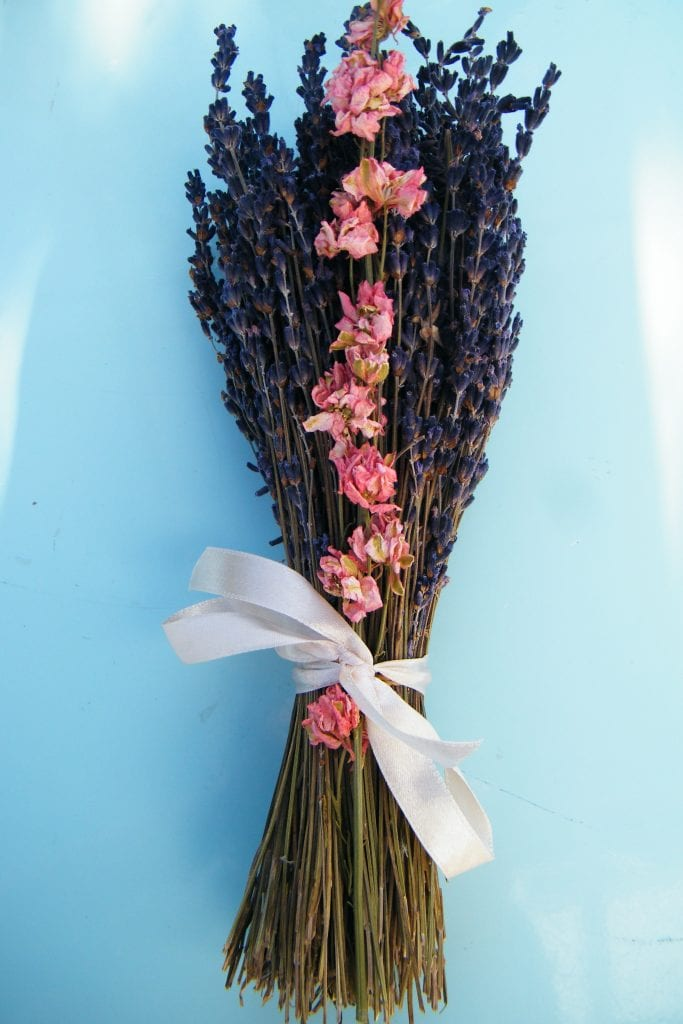 dried flower bouquet lavender delphinium