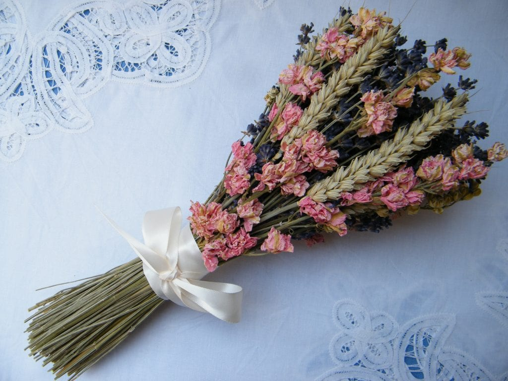 dried flower bunch delphinium wheat