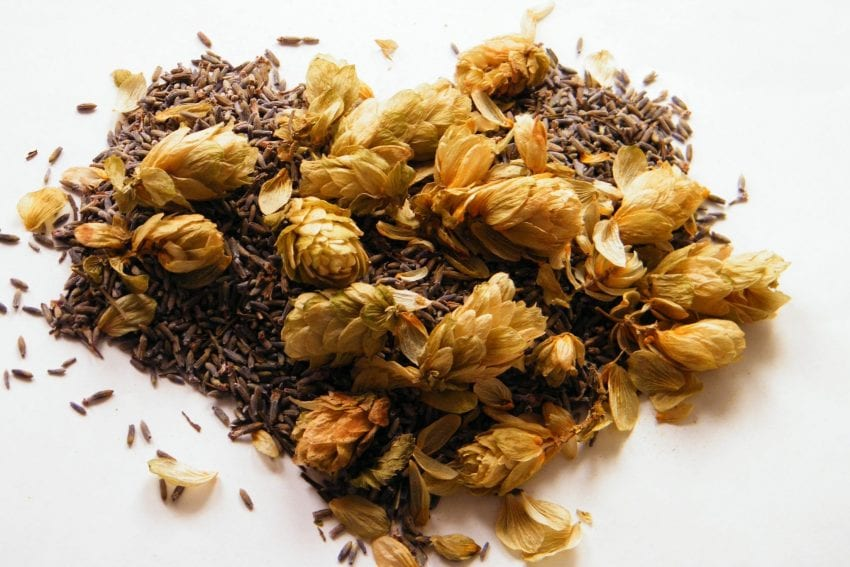 dried lavender hops heart