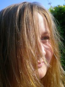 dry hair enhanced with chamomile