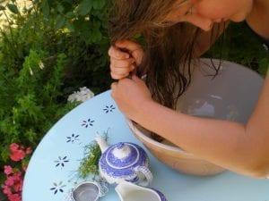 wringing chamomile hair