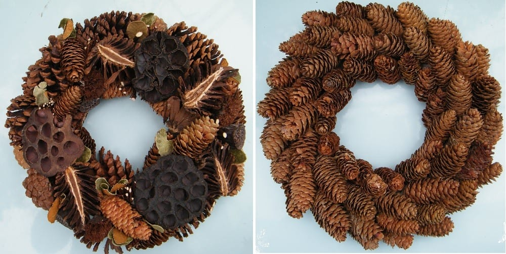 natural wreaths with fir cones