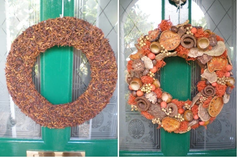 christmas wreaths with spices