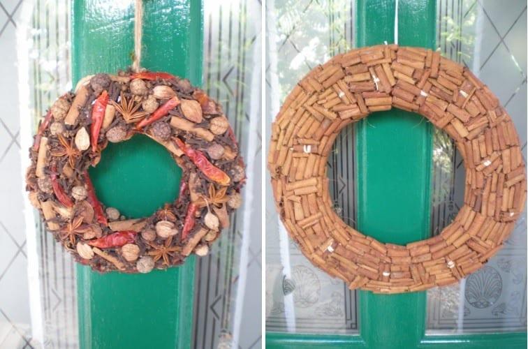 christmas wreath making cinnamon sticks