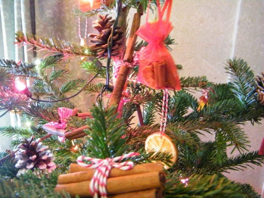 simple homemade decorations on my christmas tree