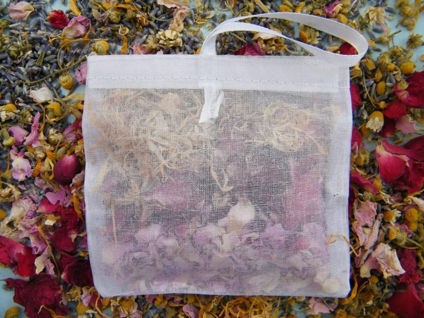bath sachet dried flowers