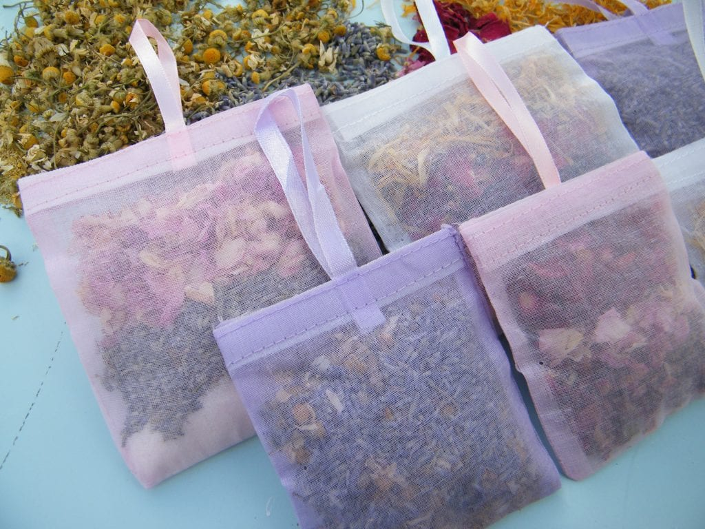 dried flowers inside floral bath sachets