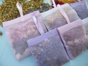 dried flowers inside floral bath sachets