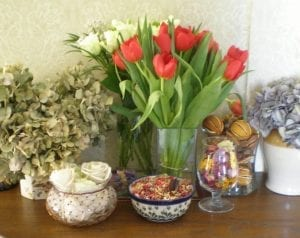 still life with fresh flowers and dried flower projects
