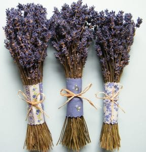 fabric wrapped lavender bunches three