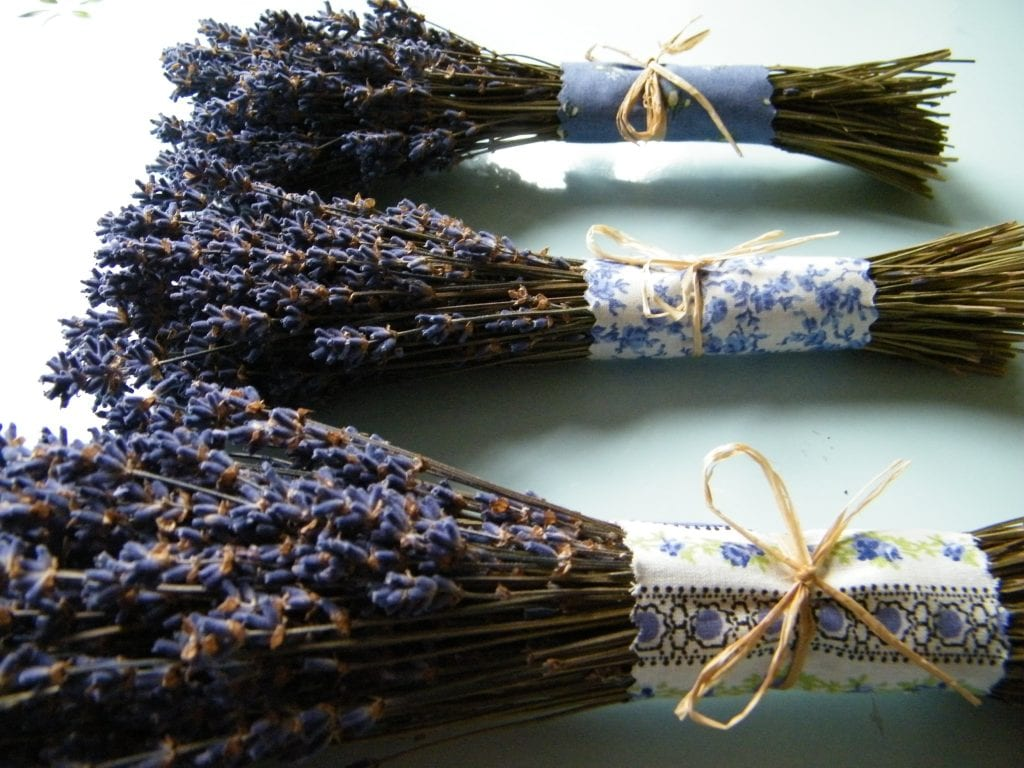 lavender bunch wrapped with fabric