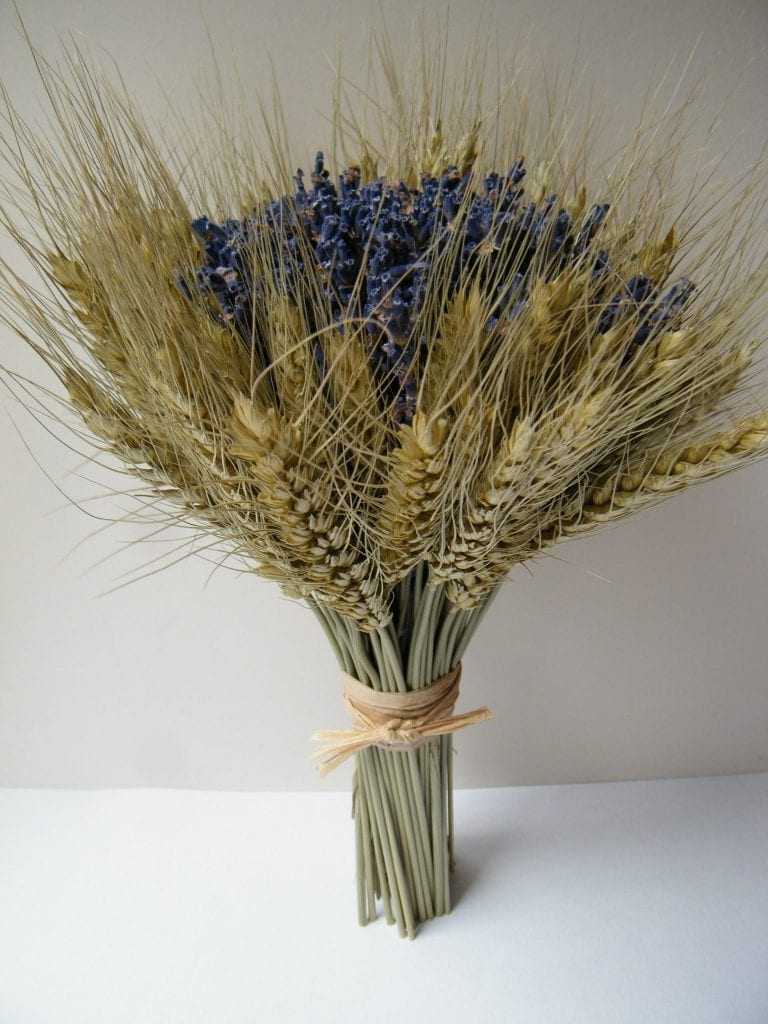 dried flower bouquet lavender bearded wheat