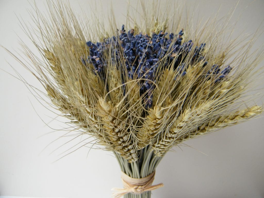 hand-tied dried flower bouquet bearded wheat dried lavender