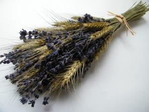 wedding flowers bearded wheat lavender dried flowers