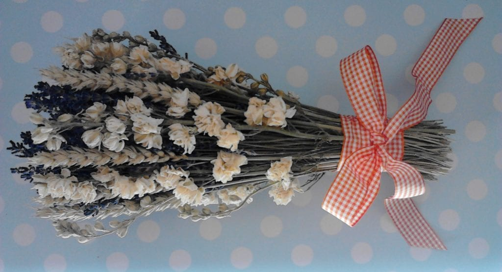 bridal dried flower bouquet orange bow
