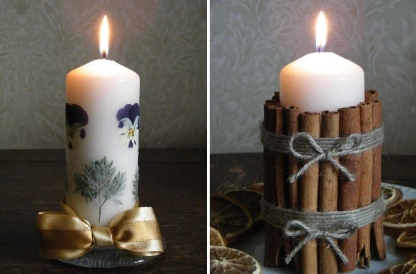 dried flower makes pressed flower candle
