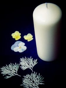 winter candle project pressed flowers