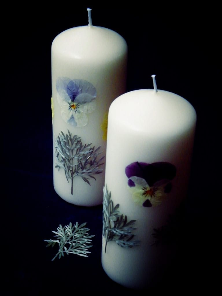 pressed flowers candle herb society