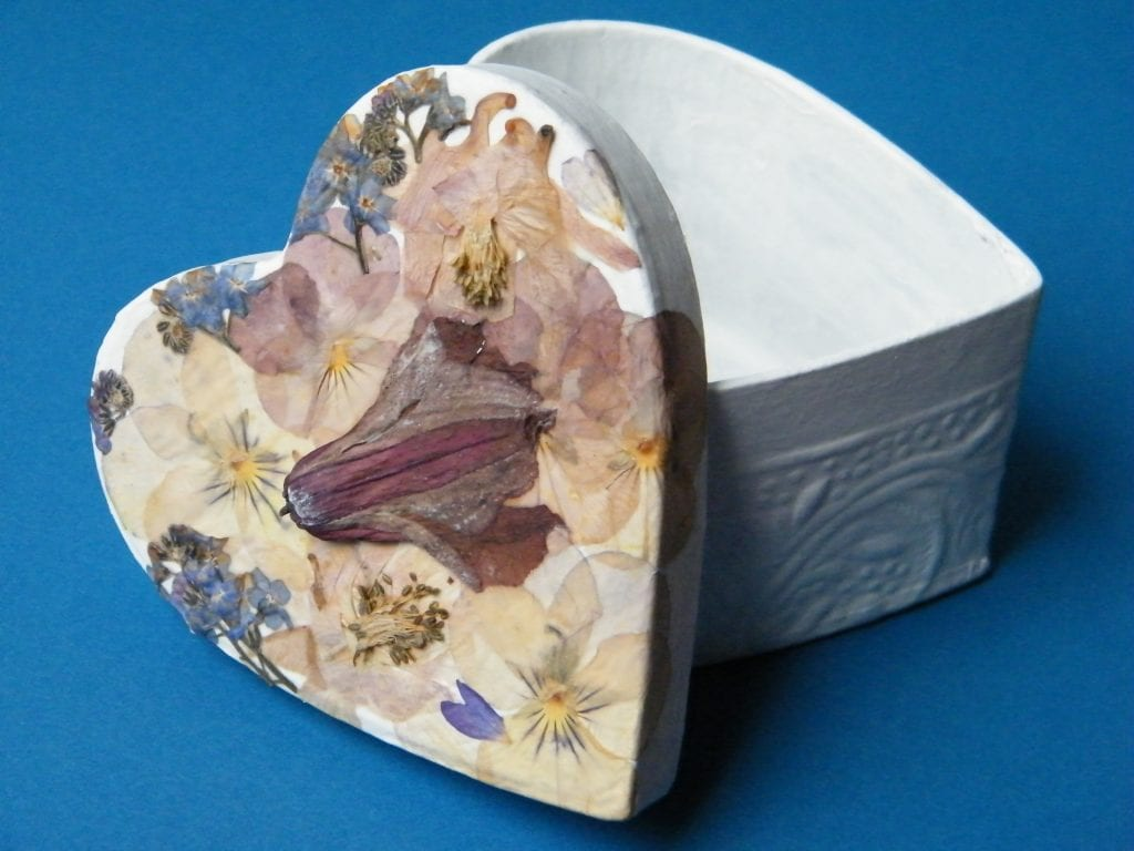 valentines box finished pressed dried flowers