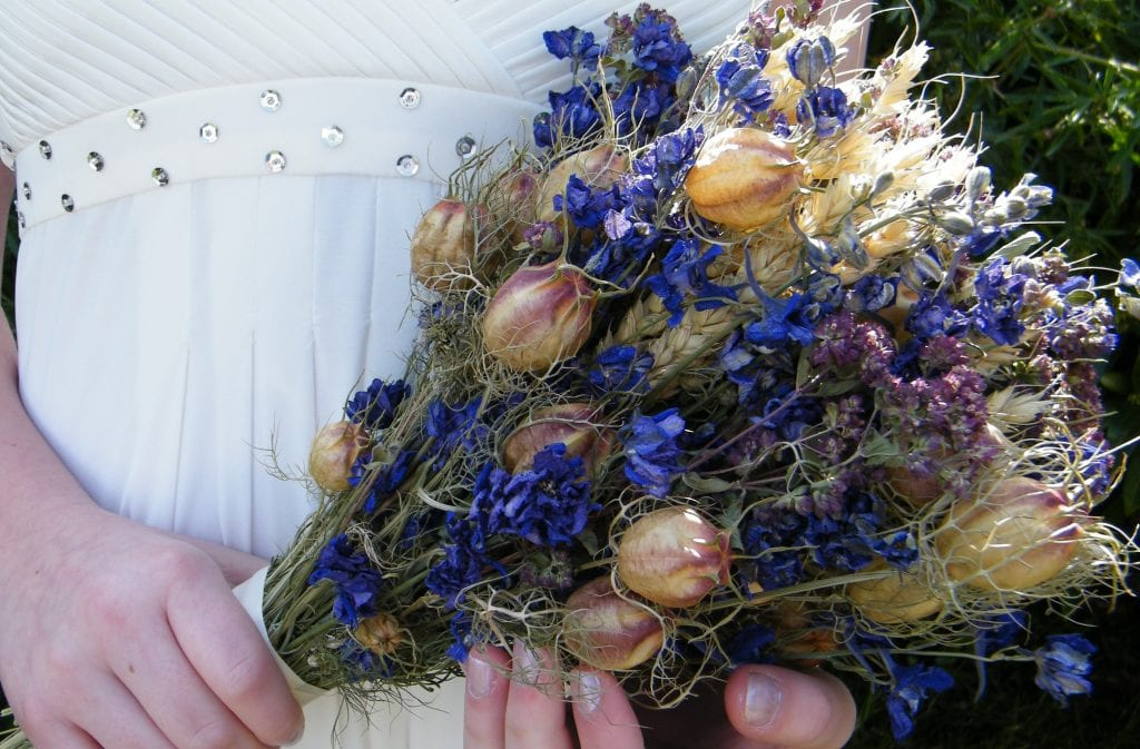 british dried flower bouquet made using uk flowers