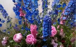 english peony delphinium flower arrangement