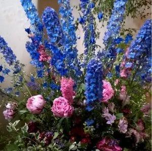english peony delphinium flower arrangement