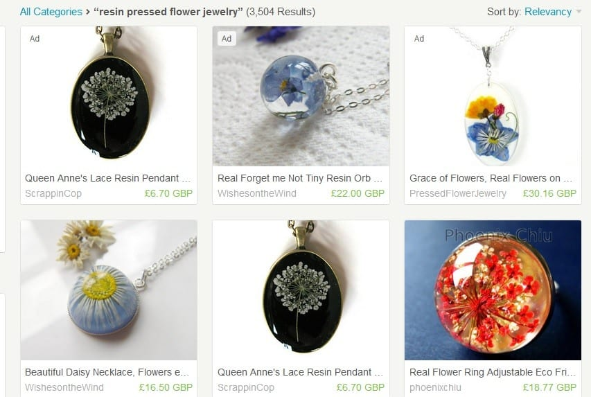 etsy pressed flowers inspiration jewelry