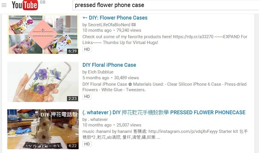 youtube pressed flower project phone case
