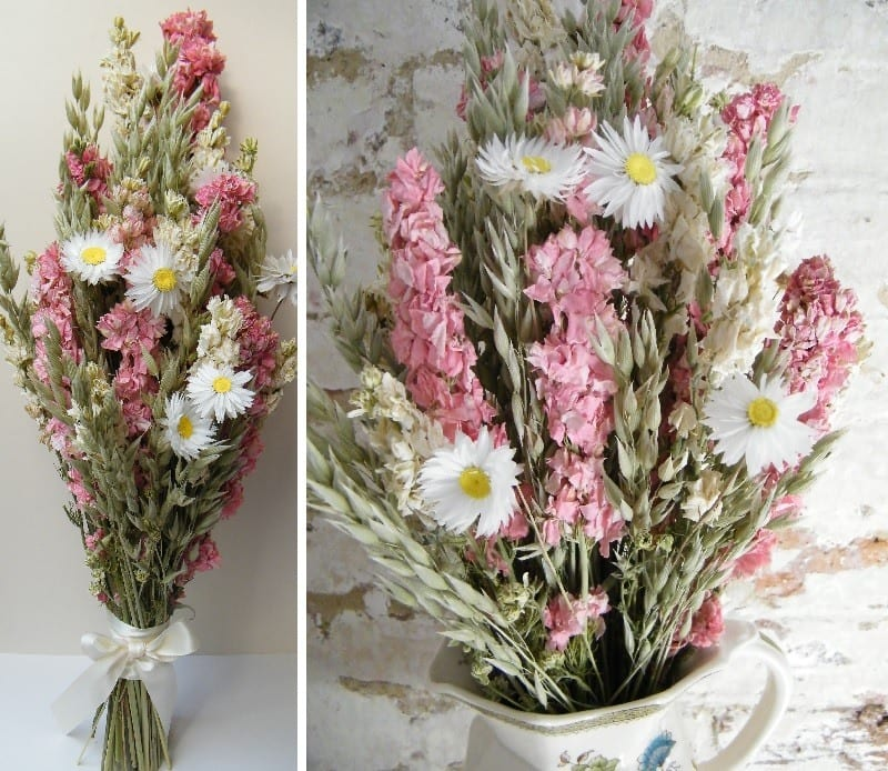 finished pink dried flower bouquet