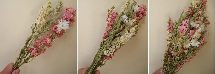 making dried flower bouquet