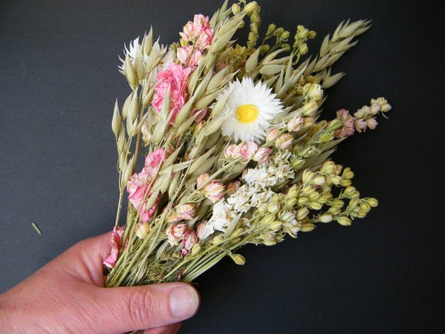 matching dried flower posy