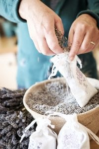 filling lavender bags
