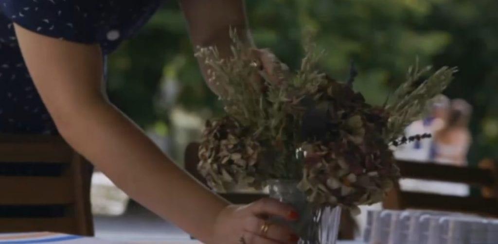 dried hydrangea lavender oats vase