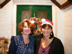 dried flowers staff in christmas hats