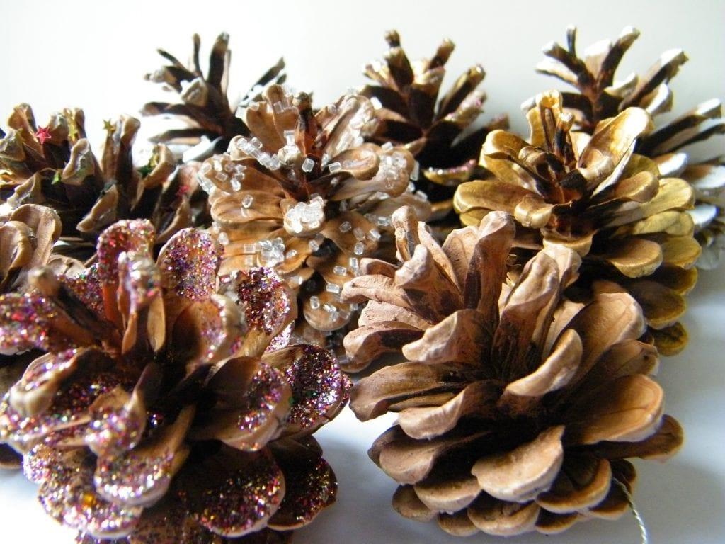 decorated pine cones