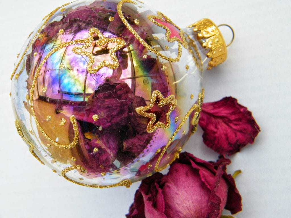 dried rose petal bauble