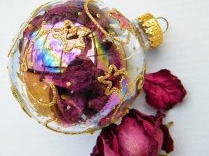 dried rose petal bauble