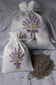 embroidered dried lavender bag