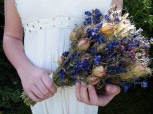 holding british blue bouquet