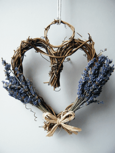 dried lavender heart wreath
