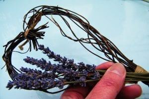 attaching dried lavender heart wreath