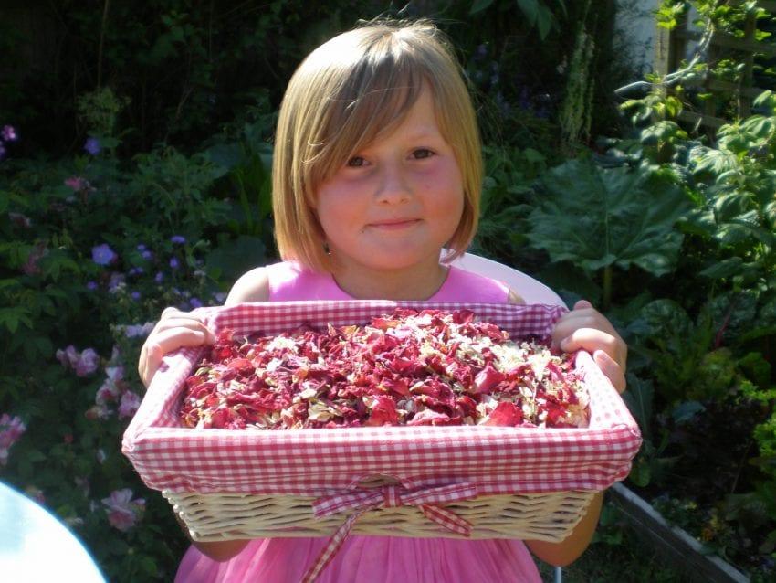 presenting dried flowers wedding confetti basket