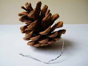 natural decorations | pine cone with wire tail