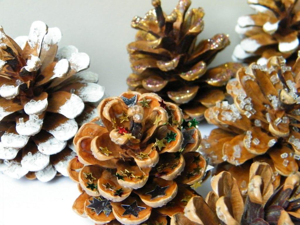 pine cones mixed decorations
