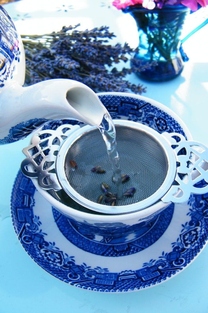 pouring lavender tea