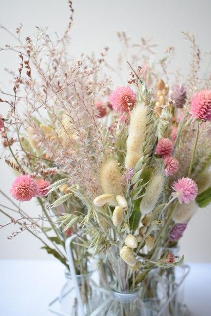 pink dry flower arrangement
